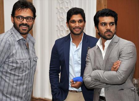 Venkateshi, Allu Arjun and Ram Charan