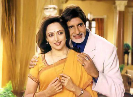 Hema Malini and Amitabh Bachchan in Baghban