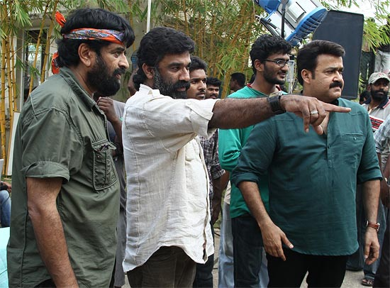 Mohanlal getting ready for a shot in Spirit