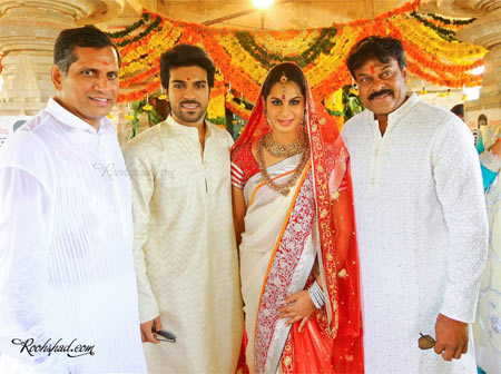 Anil and Upasana Kamineni, Ram Charan and Chiranjeevi