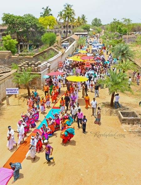 Procession outside the Domakonda Fort's Shiva Temple