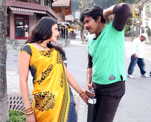 Pawan Kalyan and Shruti Hassan in Gabbar Singh