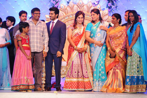 Gunashekhar along with his family, Ram Charan and Upasana, Shobhana