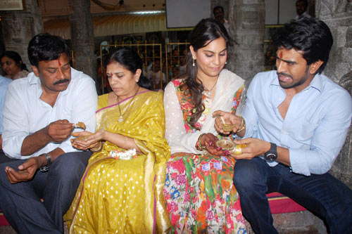 Chiranjeevi with his wife Surekha and Ram Charan with his wife Upasana