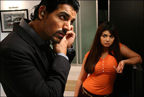John Abraham and Ayesha Takia in No Smoking