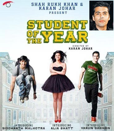 Movie poster of Student Of The Year. Inset: Karan Johar