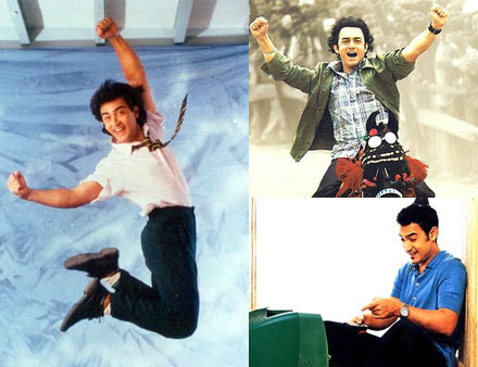 Aamir Khan in (clockwise from left): Jo Jeeta Wohi Sikandar, Rang De Basanti and Dil Chahta Hai