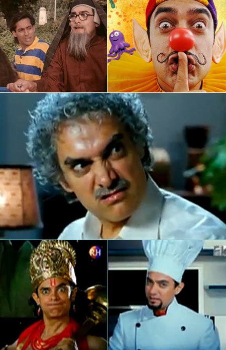 Aamir Khan (from top to bottom): in Andaz Apna Apna, Taare Zameen Par and 3 Idiots