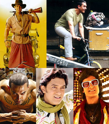 Aamir Khan in (Clockwise from top left): Mela, Dhobi Ghat, Delhi Belly, Fanaa and Ghajini
