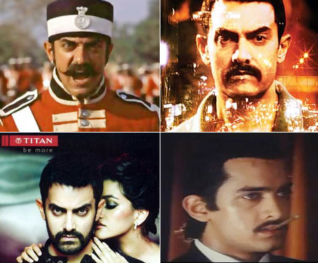 Aaamir Khan in (Clockwise from top left): Mangal Pandey, Talaash, Atank Hi Atank and Titan ad