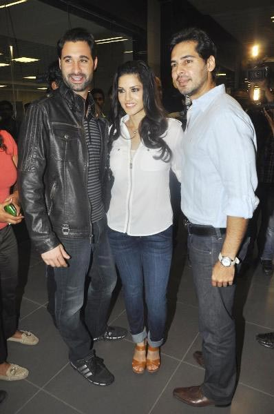 Sunny Leone with husband Daniel Weber and Dino Morea in Mumbai airport