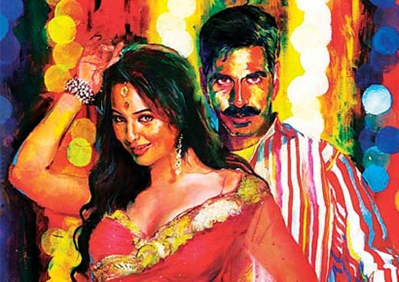 Sonakshi Sinha and Akshay on the poster of Rowdy Rathore
