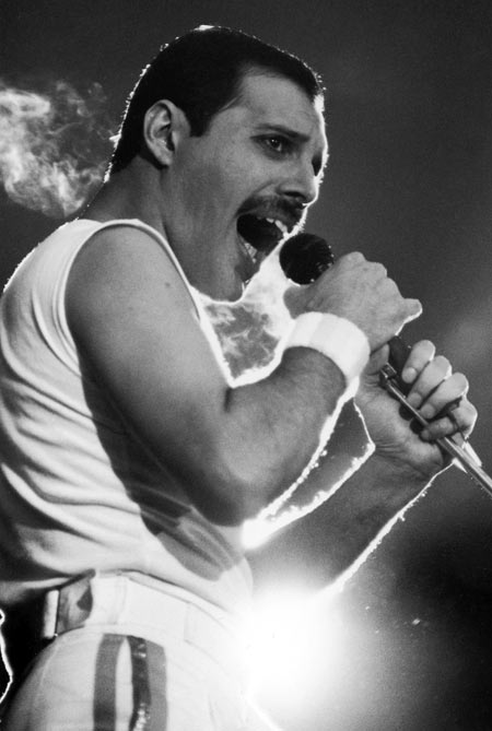 Freddie Mercury singing during a Queen concert in Stockholm in 1986.