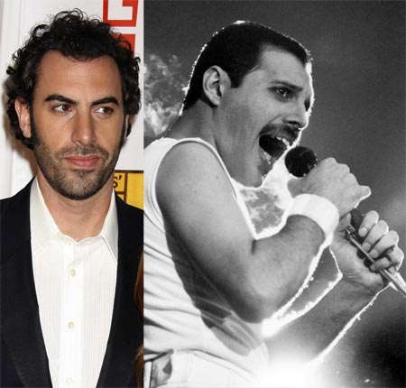 Sacha Baron Cohen and Freddie Mercury