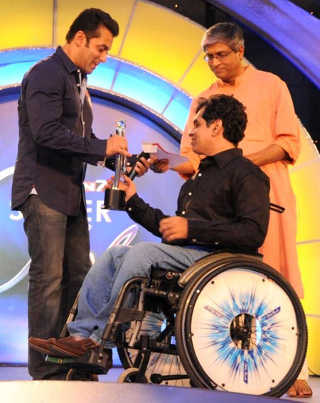 Salman Khan with an awardee