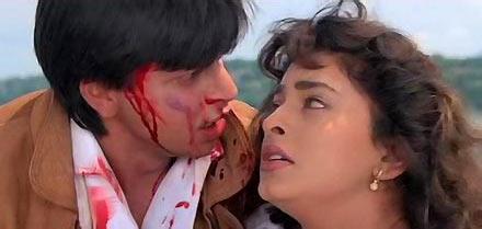 Shah Rukh Khan and Juhi Chawla in Darr