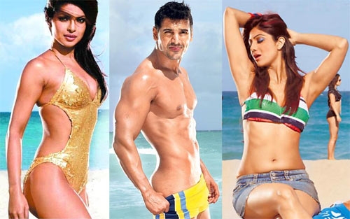 Priyanka Chopra, John Abraham and Shilpa Shetty in Dostana