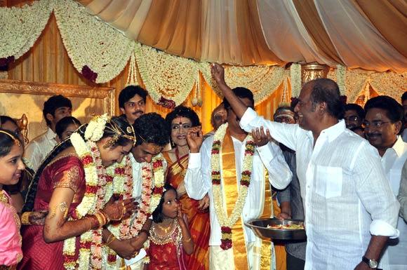 Rajinikanth with the newlyweds