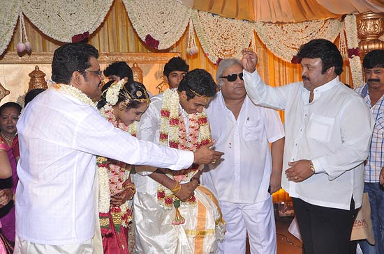 Prabhu with the newlyweds