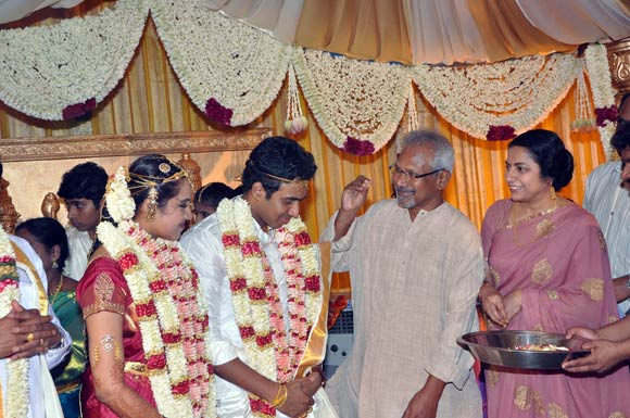 Mani Ratnam and Suhasini with the newlyweds