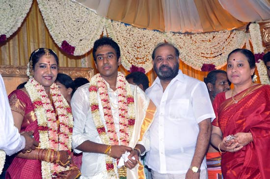 P Vasu and wife Shanthi with the newlyweds