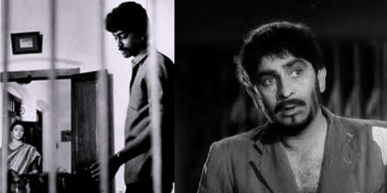 Left: A scene from Anantharam. Right: Raj Kapoor in Jagte Raho