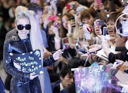 Lady Gaga with her fans