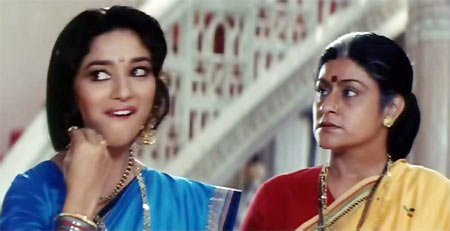 Madhuri Dixit and Aruna Irani in Beta