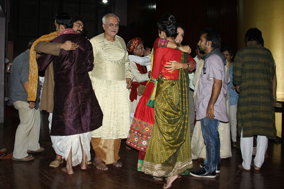 Utkarsh Majumdar with other actors before the play