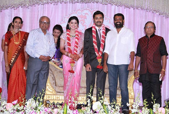 K Balachander (second from left) with the newlyweds