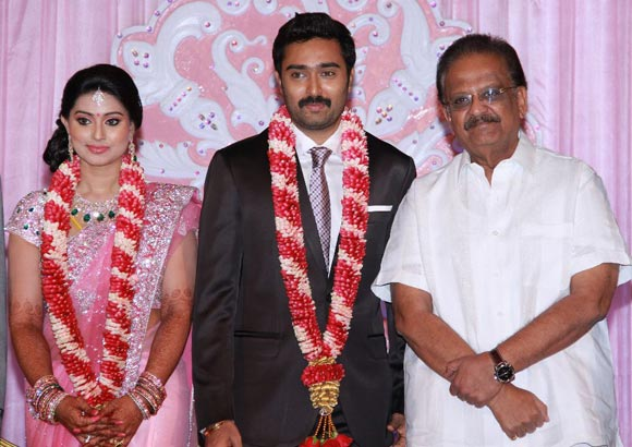 SP Balasubramanyam with the newlyweds