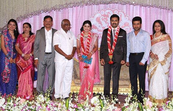 Suriya and Jyothika with the newlyweds