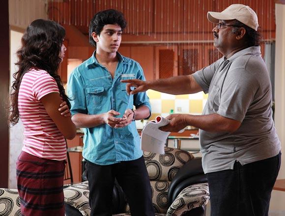 Balaji Saktivel explains a scene to his actors.