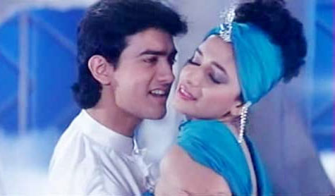 Aamir Khan and Madhuri Dixit in Dil