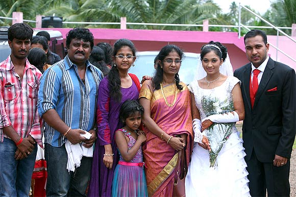 Udayathara and Jubin Joseph pose with the family