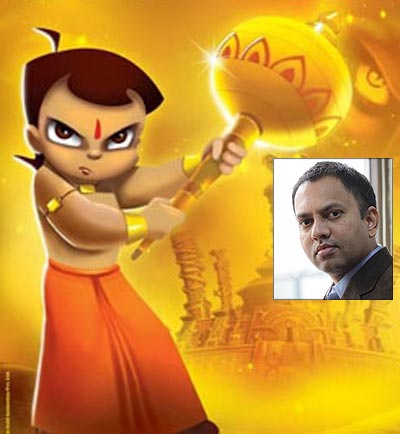 A scene from Chhota Bheem. Inset: Director Rajiv Chilaka
