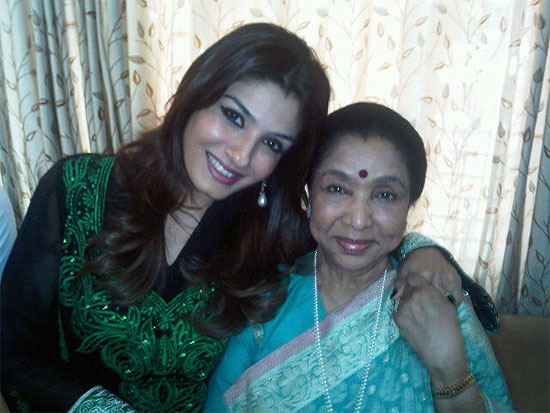 Raveena Tandon and Asha Bhosle