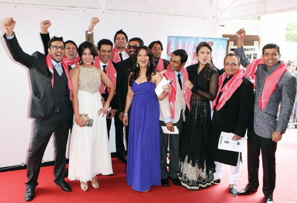 Anurag Kashyap with the cast and crew of Gangs Of Wasseypur at Cannes