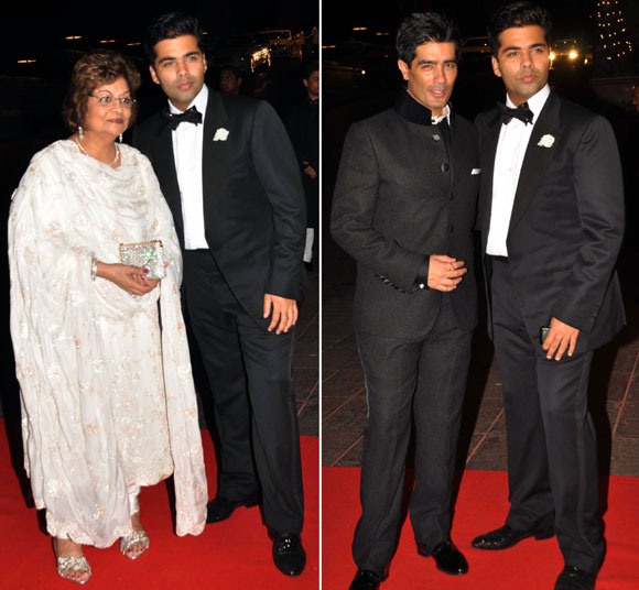 Karan Johar  with mother Hiroo and Manish Malhotra