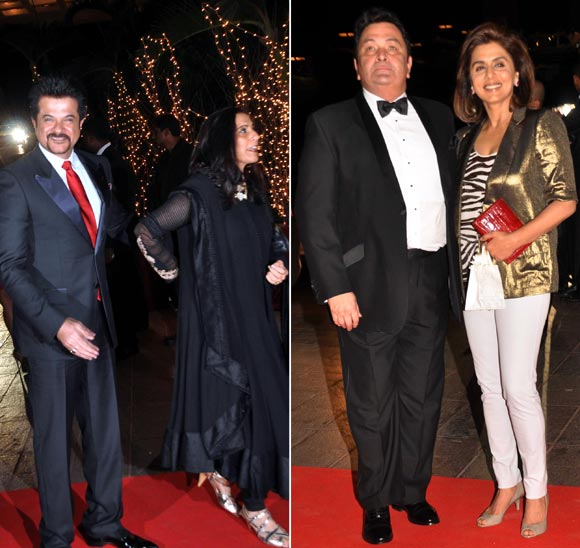 Left: Anil and Sunita Kapoor. Right: Rishi and Neetu Kapoor,