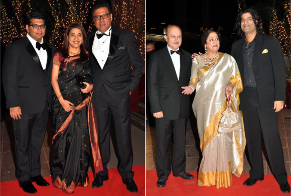 Boman Irani with wife Zenobia and Kayoze. Anupam Kher with Kirron Kherand Sikaner Kher