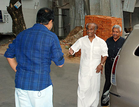 Rajinikanth arrives for the screening