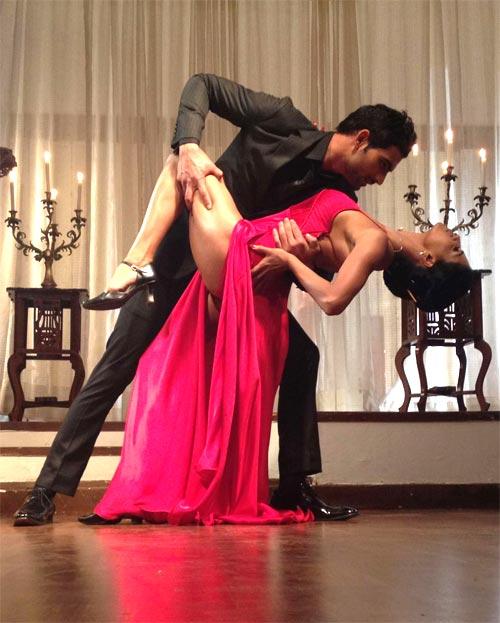 Veena Malik with her dancing partner