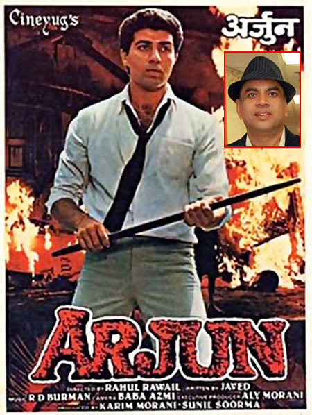 Movie poster of Arjun. Inset: Paresh Rawal
