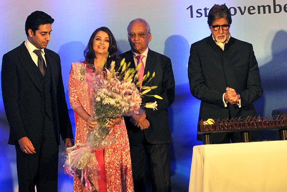 Abhishek, Ash, Krishnaraj and Amitabh