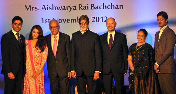 Abhishek, Ash, Krishnaraj, Amitabh, French official, Vrinda Rai and Adtiya Rai