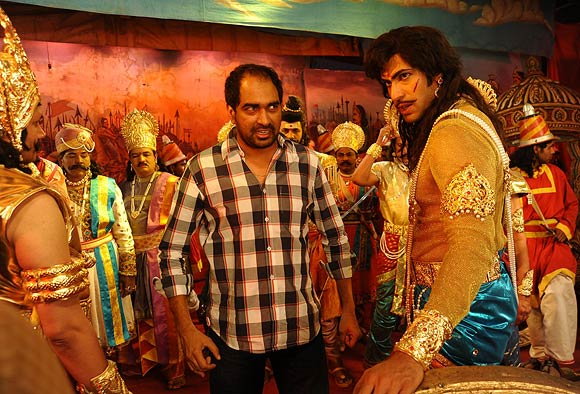 Director Krish directs a scene in Krishnam Vande Jagadgurum