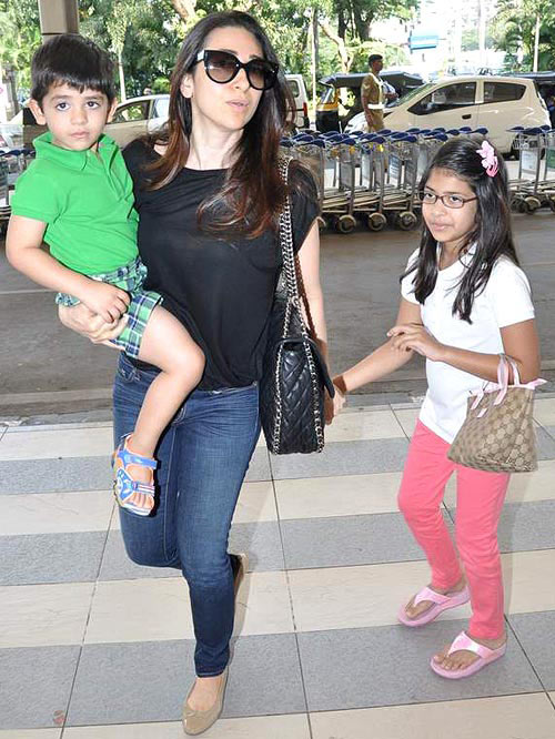 Karisma with kids Samaira and Kiaan Raj Kapoor