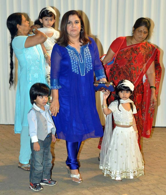 Farah Khan with her triplets Czar, Diva, Anya