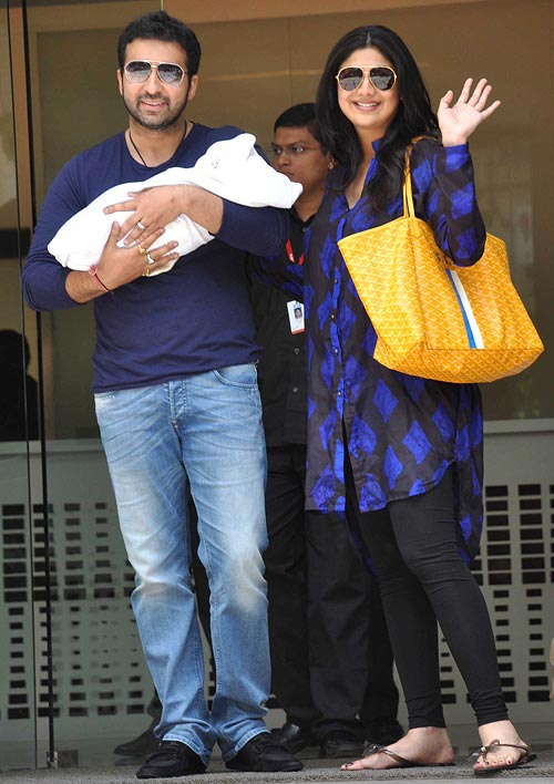 Shilpa Shetty, Raj Kundra with their son Viaan